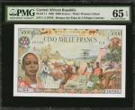 CENTRAL AFRICAN REPUBLIC. Banque des Etats de lAfrique Centrale. 5000 Francs, 1980. P-11. PMG Gem Un