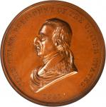 1841 John Tyler Indian Peace Medal. First Size. Second Reverse. Bronze. 76 mm. Julian IP-21. MS-64 B