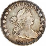 1806 Draped Bust Half Dollar. O-110, T-10. Rarity-6. Pointed 6, Stem Through Claw. VF-20 (NGC).