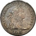 1797 Draped Bust Silver Dollar. BB-72, B-2. Rarity-4. Stars 9x7, Small Letters. AU-50 (PCGS). Secure
