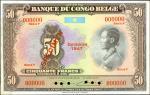 BELGIAN CONGO. Banque Congo du Belge. 50 Francs, 1947. P-16s. Specimen. About Uncirculated.