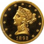 1893 Liberty Eagle. Proof-65+ Deep Cameo (PCGS). CAC.