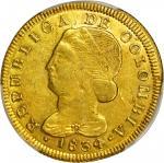 COLOMBIA. 1834-FM 8 Escudos. Popayán mint. Restrepo M166.37. AU Detail — Planchet Flaw (PCGS).