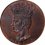 """BARBADOS. Copper 1/2 Penny Restrike, """"1792"""". PCGS PROOF-64 Red Brown."""