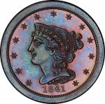 1841 Braided Hair Half Cent. Original. Large Berries Reverse. Breen 1-A. Rarity-5. Proof-67 BN (PCGS