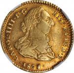 CHILE. 2 Escudos, 1808/7-So-FJ. Santiago Mint. Charles IV. NGC AU-50.