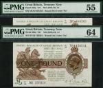 Treasury Series, N.F. Warren-Fisher, £1, ND (1922-23), serial numbers B156 150324, M182 484765, dark