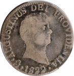 MEXICO. 2 Reales, 1822-Mo JM. Mexico City Mint. Augustin I Iturbide. PCGS VG-10 Gold Shield.