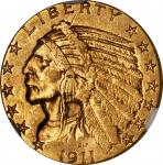 1911-D Indian Half Eagle. AU-55 (NGC).