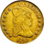 1799 Capped Bust Right Eagle. BD-7, Taraszka-19. Rarity-3. Small Obverse Stars. EF-45 (PCGS).