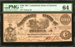 T-13. Confederate Currency. 1861 $100. PMG Choice Uncirculated 64.
