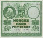 NORWAY. Norges Bank. 50 Kroner, 1963. P-32c. Very Fine.