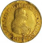 COLOMBIA. 8 Escudos, 1767-PN J. Popayan Mint. Charles III (1759-88). PCGS EF-45 Gold Shield.