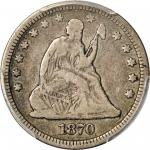 1870-CC Liberty Seated Quarter. Briggs 1-A, the only known dies. Fine-15 (PCGS).