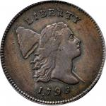 1795 Liberty Cap Half Cent. C-2a. Rarity-3. Lettered Edge, Punctuated Date. AU-55 (PCGS). CAC.