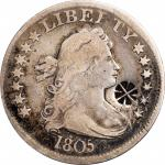 (FLOWER OR CANCELLATION) on an 1805 B-2 Draped Bust quarter. Brunk-Unlisted, Rulau-Unlisted. Host co