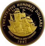 1987年巴哈马2500元金币 PCGS Proof 69