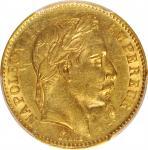 1866-BB年20法郎。斯特拉斯堡铸币厂。拿破崙三世。 FRANCE. 20 Francs, 1866-BB. Strasbourg Mint. Napoleon III. PCGS AU-55.