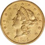 1854 Liberty Head Double Eagle. Large Date. AU-50 (PCGS). CAC.