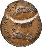 Undated Contemporary Counterfeit English Halfpenny. George III Type. Double Struck. Choice About Unc