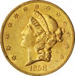 1858-S Liberty Head Double Eagle. AU-58 (PCGS). CAC.