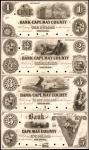 Cape Island, New Jersey. Bank of Cape May County. ND (18xx).Uncut Sheet of $1-$2-$3-$5. Choice Uncir