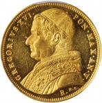 ITALY. Papal States. 10 Scudi, 1835-R Year V. Rome Mint. Gregory XVI. PCGS MS-63 Gold Shield.