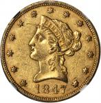 1847 Liberty Head Eagle. AU-58 (NGC).