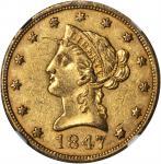1847 Liberty Head Eagle. AU-58 (NGC).