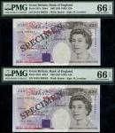 Bank of England, M. Lowther, 」20 (2), ND (1999), serial numbers DA01 000551, 000553, (EPM B384, Pick