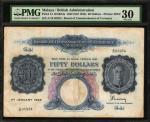 1942年马来亚货币发行局伍拾圆。MALAYA. Board of Commissioners of Currency Malaya. 50 Dollars, 1942 (ND 1945). P-14