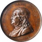 1786 Benjamin Franklin Natus Boston Medal. Original Dies. Paris Mint. By Augustin Dupre. Greenslet G