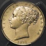 GREAT BRITAIN Victoria ヴィクトリア(1837~1901) Sovereign 1871 PCGS-MS62+ -UNC