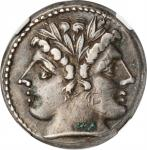 ROMAN REPUBLIC. Anonymous. AR Quadrigatus or Didrachm (6.37 gms), Uncertain mint, ca. 225-214 B.C. N