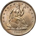 1866-S Liberty Seated Half Dollar. No Motto. WB-1. Rarity-4. Late Die State. MS-66 (NGC).