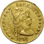 1797 Capped Bust Right Eagle. Heraldic Eagle. BD-4, Taraszka-12. Rarity-4+. AU-58 (NGC).