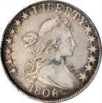 1806 Draped Bust Half Dollar. O-111a, T-11. Rarity-4. 6/Inverted 6. VF-25 (PCGS).