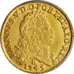 BRAZIL. 6,400 Reis, 1745-B. Joao V (1706-50). PCGS Genuine--Cleaned, AU Details Secure Holder.