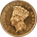 1855 Three-Dollar Gold Piece. MS-62 (PCGS).