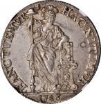 1786年荷兰东印度群岛1古尔登。NETHERLANDS EAST INDIES. Gulden, 1786. Utrecht Mint. NGC Unc Details--Reverse Toole