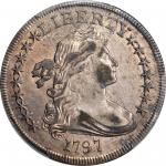 1797 Draped Bust Silver Dollar. BB-72, B-2. Rarity-4. Stars 9x7, Small Letters. AU-53 (PCGS).