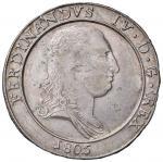Italian coins;NAPOLI Ferdinando IV (1759-1816) Piastra 1805 - Magliocca 392 AG (g 27.48) Difetto al