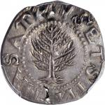 1652 Pine Tree Shilling. Large Planchet. Noe-10, Salmon 8-Diii, W-750. Rarity-3. Without Pellets at