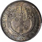 COLOMBIA. 1835-RS 8 Reales. Bogotá mint. Restrepo 158.4. MS-62 (PCGS).