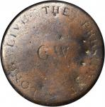 Washington Inaugural Button. Plain Roman GW. Wide W. Cobb 11. Brass. Fine, Dents.