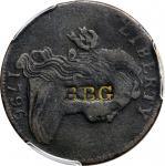 1796 Draped Bust Cent. S-93. Rarity-3. Reverse of 1795, Single Leaves--Counterstamped B.B.G--VF Deta