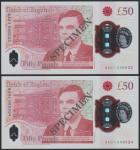 Bank of England, £50, 23 June 2021, serial number AA01 000033/34, red, Queen Elizabeth II at right a