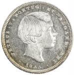 PORTUGAL: Pedro V, 1853-1861, AR 200 reis, 1855, KM-491, Cr-118, light peripheral tone, two-year typ