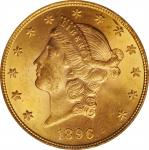 1896 Liberty Head Double Eagle. FS-301. Repunched Date. MS-63 (PCGS).