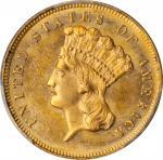 1880 Three-Dollar Gold Piece. MS-63+ (PCGS).